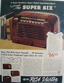 RCA Victor the super six Ad 1941.