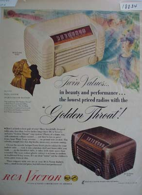RCA Victor golden throat Ad 1947.