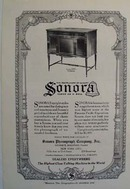 Sonora phonograph Ad 1920. Ad was published 11/20