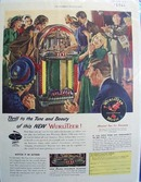Wurlitzer phonographs thrilling tone and beauty Ad 1947.