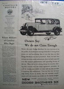 Dodge Brothers Six Owners Say Ad 1929