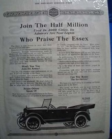 Essex Join the Half Million Ad 1919