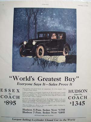 Essex World's Greatest Buy Ad 1925