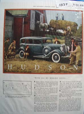 Hudson All Worldly Goods Ad 1933