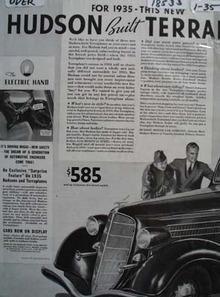 Hudson Terraplane Electric Hand Ad 1935