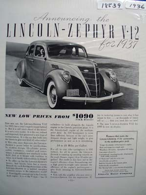 Lincoln-Zephyr V-12 for 1937 Ad 1936