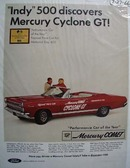 Mercury Comet at Indy 500 Ad 1966