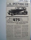 Plymouth A New Car Ad 1928
