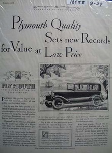 Plymouth Sets new Records Ad 1929
