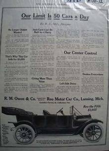 Reo Motor Car 50 a Day Ad 1912