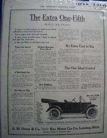 Reo Auto Extra One-Fifth Ad 1913