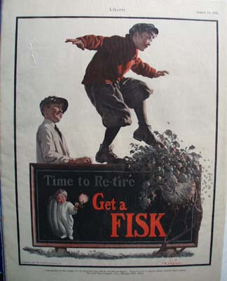 Fisk Tire Boy on Sign Ad 1926