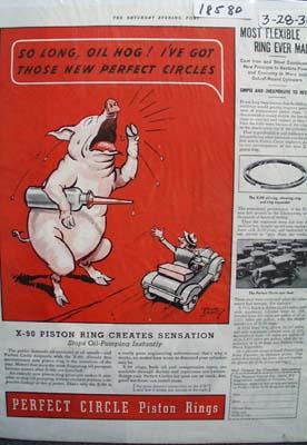 Perfect Circle Piston Rings Crying Hog Ad 1936