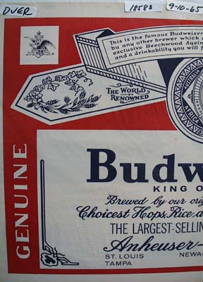 Budweiser Placeman/Sign Ad 1965