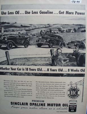 Sinclair oil use less gas and get more power Ad 1948