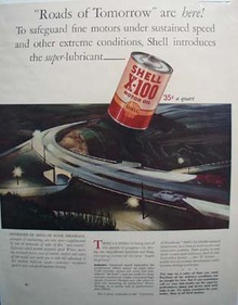 Shell X-100 for the roads of tomorrow Ad 1941