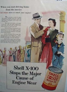 Shell X-100 oil protects your engine Ad 1946.