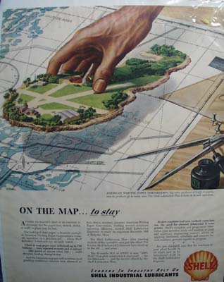 Shell on the map to stay. Ad was published 2/47.