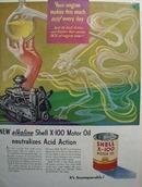 Shell alkaline X-100 motor oil Ad 1951.