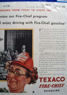 Texaco fire-chief gasoline Ad 1934.