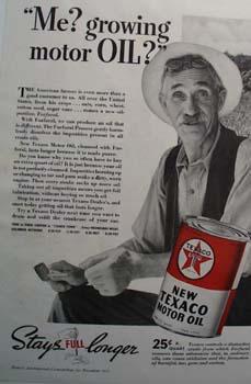 Texaco motor oil stays full longer Ad 1937