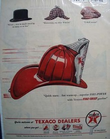 Texaco fire-chief superior power gasoline Ad 1946