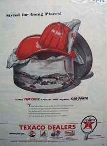 Texaco fire-chief gasoline styled for going places Ad 1946.