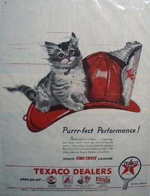Texaco fire-chief gasoline purrr-fect performance Ad 1946.