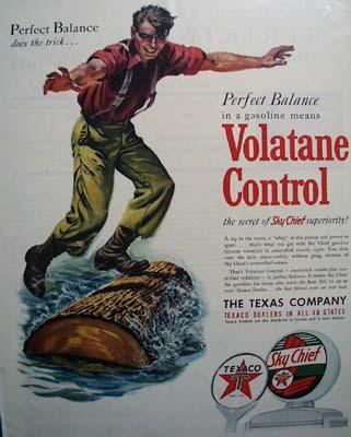 Texaco Sky Chief gasoline the perfect balance Ad 1950
