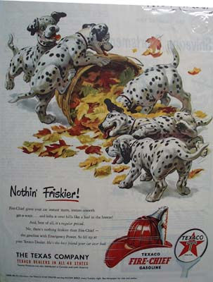 Texaco Fire-Chief gasoline nothing Friskier Ad 1951