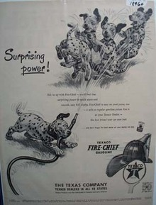 Texaco Fire-Chief gasoline surprising power Ad 1952.