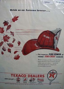 Texaco Fire-Chief gasoline is brisk as an autumn breeze Ad 1952