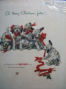Texaco Fire-Chief merry Christmas Ad 1952.
