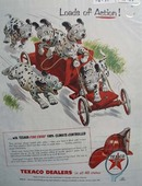 Texaco Fire-Chief loads of action Ad 1955.
