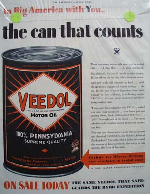 Veedol oil for winter driving Ad 1933.