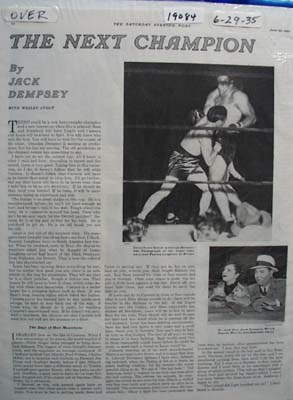 The Next Champion by Jack Dempsey Article 1935