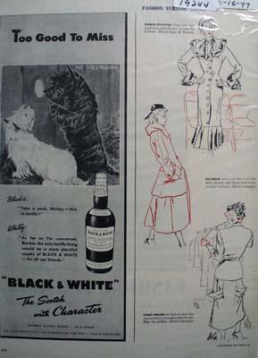 Black & White Whiskey Scottie Too Good Ad 1947