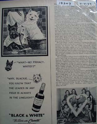 Black & White Whiskey Scottie No Privacy Ad 1949