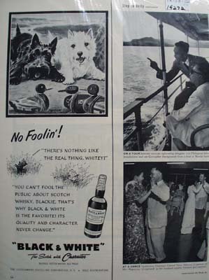 Black & White Whiskey Scottie No Fooling Ad 1952