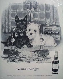 Black & White Whiskey Scottie Hearths Delight Ad late 1950's.