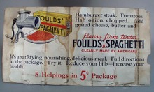 Foulds Macaroni Advertising double sided cardboard ad.