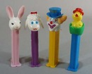 4 pez dispensers Easter collection, Rabbit, Lamb, hatching chick