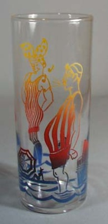 Federal glass with bathing scene 1940's.