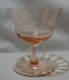 Fry Glass Unknown pattern sherbet in pink.