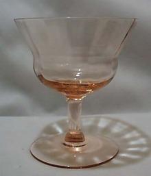 Fry Glass Unknown pattern sherbet in pink.