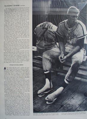 Black and white 1960 photo ad of Dodgers slugging legend Frank Howard