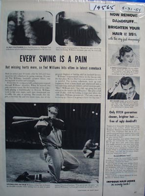 Ted Williams swinging through the pain photo Ad 1954