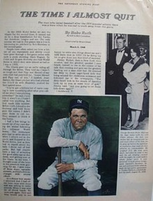 The Time I Almost Quit by Babe Ruth photo Ad 1976.