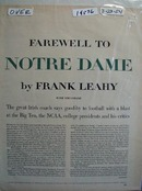 Frank Leahy says farewell to Notre Dame and football Ad 1954