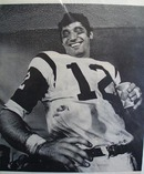 Black and white photo of Broadway Joe Namath.
